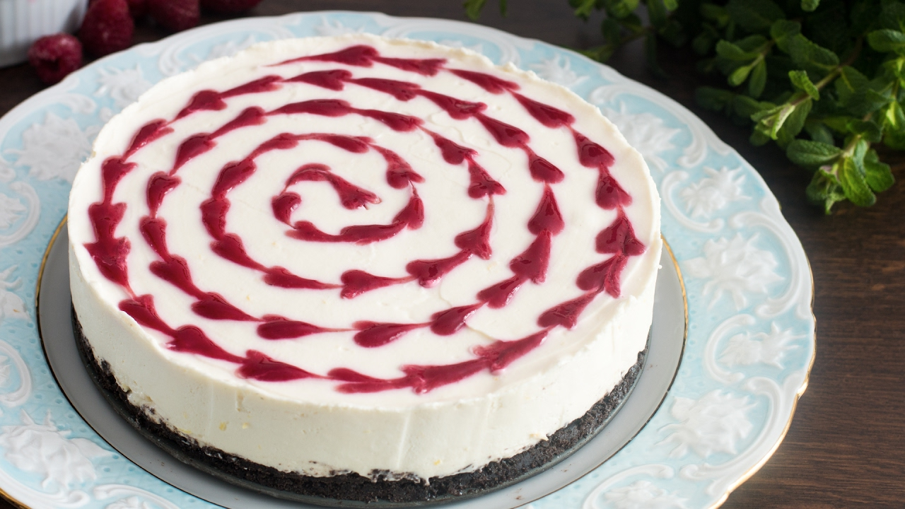 No Bake White Chocolate Raspberry Cheesecake Recipe Youtube