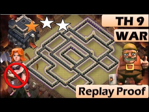 th 9 town hall 9 anti 2 stars war base clash of clans new update replay proof youtube - Stars War