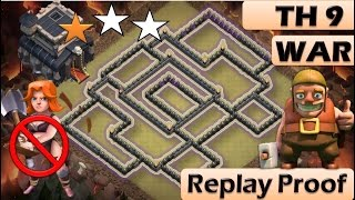 TH 9 (TOWN HALL 9) ANTI 2 STARS WAR BASE || CLASH OF CLANS NEW UPDATE || REPLAY PROOF