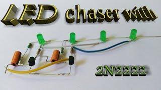 LED chaser with 2N2222 transistor || 4LED chaser || by ESTK