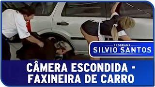 Repeat youtube video Programa Silvio Santos - Câmera Escondida: Faxineira de Carro