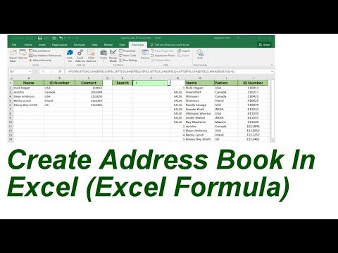 create search addressbook in excel formula