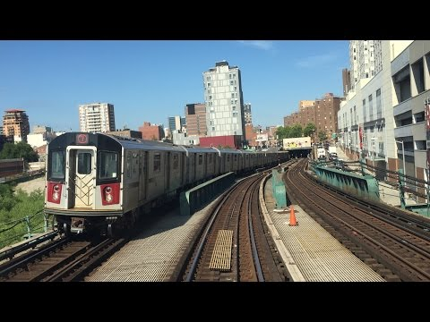 NYC Subway HD 60fps: R62A 7 Express & Local Train Railfan Window Roundtrips (6/24/15) Timelapse 4x