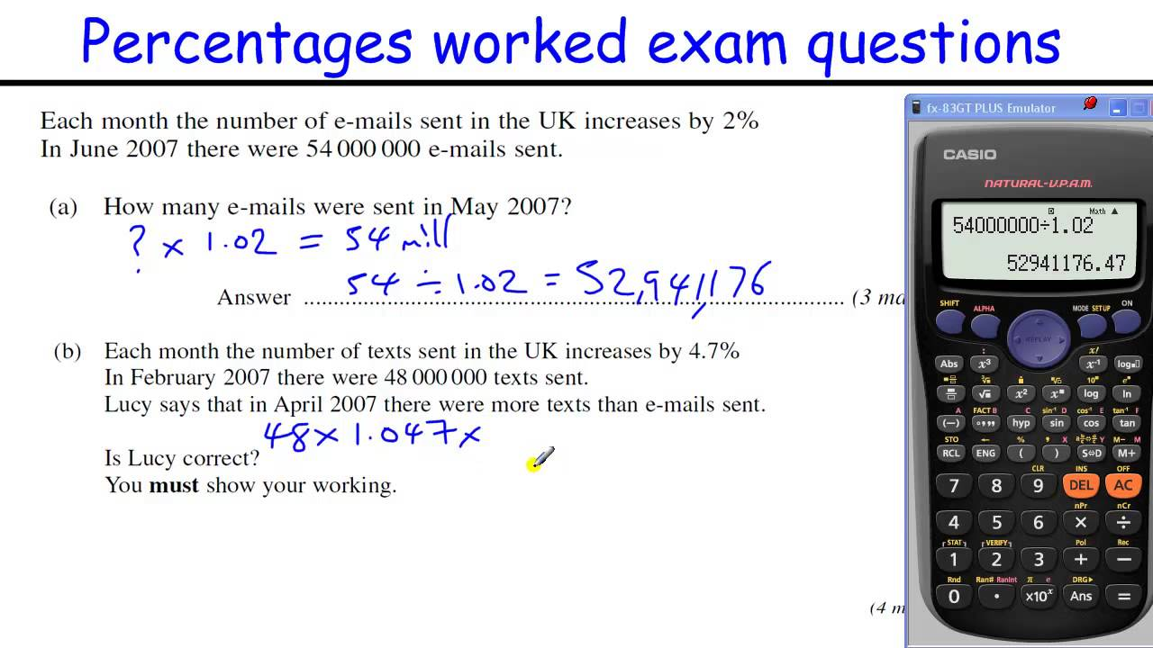 How To Do Percentages Gcse Maths Revision Higher Level Worked Exam