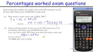 How to do Percentages GCSE Maths revision Higher level worked exam questions (inc compound interest)