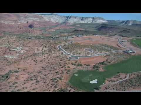 aerial shot of desert golf course high altitude zjm1ugebh
