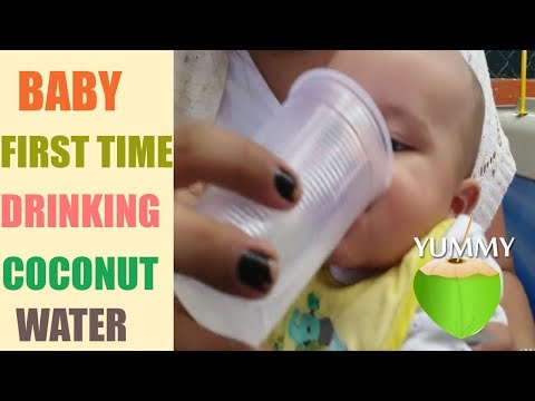Babies first time drinking coconut water!