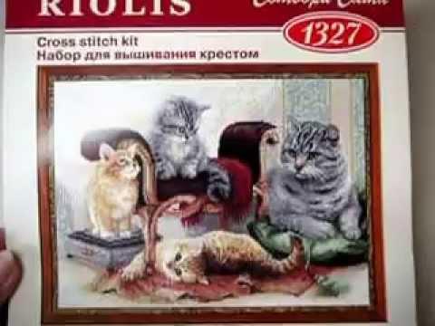 Кошачье семейство вышивка крестом