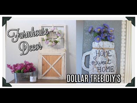 DOLLAR TREE FARMHOUSE DECOR// GALVANIZED MASON JAR WALL ART// FARMHOUSE DOOR