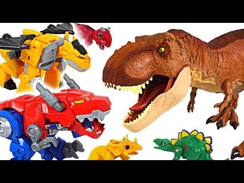 Jurassic World Fallen Kingdom dinosaur T-rex appeared! Transformers Rescue Bots! Go! - DuDuPopTOY