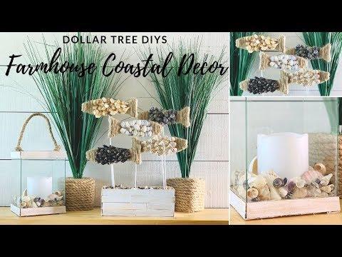 DOLLAR TREE FARMHOUSE COASTAL BEACH DECOR PIER1 INSPIRED DIY