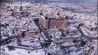 La espectacular estampa de Toledo totalmente nevado visto desde el aire