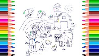 How to Draw Farm with coloring book: House, Animal, Trees. Art Colors for Kids with colored Markers.