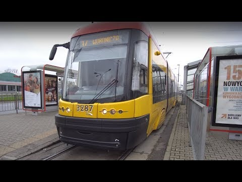 Poland, Warsaw, ride with tram No 17 from Marymont to Central