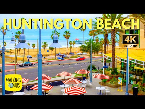 Huntington Beach Pier | Pacific City | Surf City USA  | California Travel | 4K Walking Tour