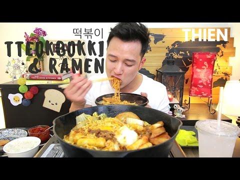 [mukbang/cookbang with THIEN]: Tteokbokki (떡볶이) + Ramen (Korean Spicy Rice Cake & Noodles)