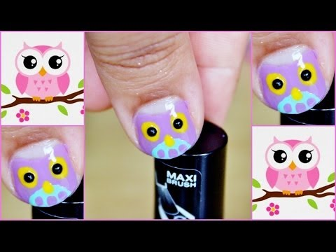Cute Easy Owl Nail Art Short Nails Youtube