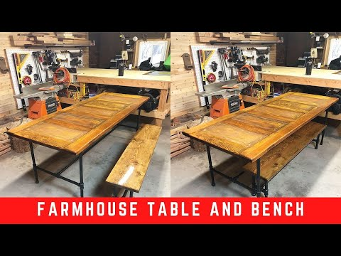 Epoxy Top Farmhouse Table and Bench // DIY // HARDWOOD DOOR TABLE