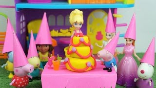 Polly Pocket Ganha uma Festa Surpresa do Pig George Peppa Pig Elsa Anna Frozen Dora Aventureira!