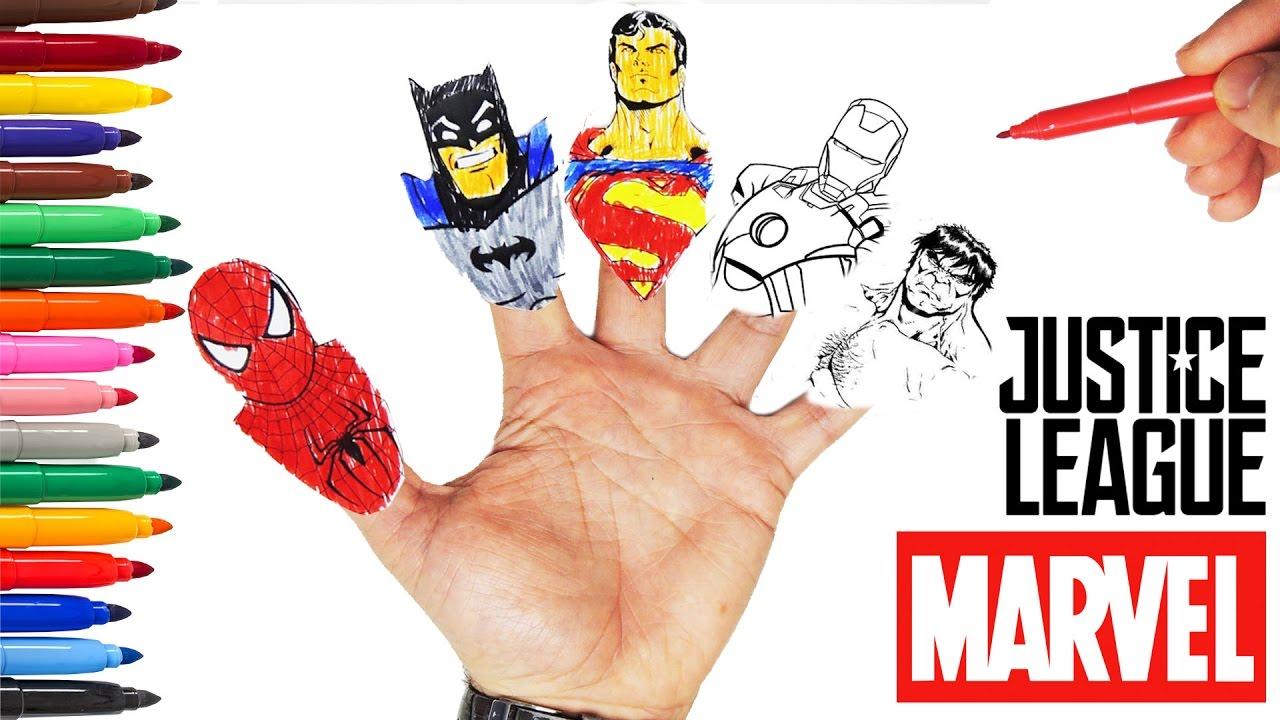 Super Kahramanlar Parmak Ailesi Sarkisi Boyama Keceli Kalem