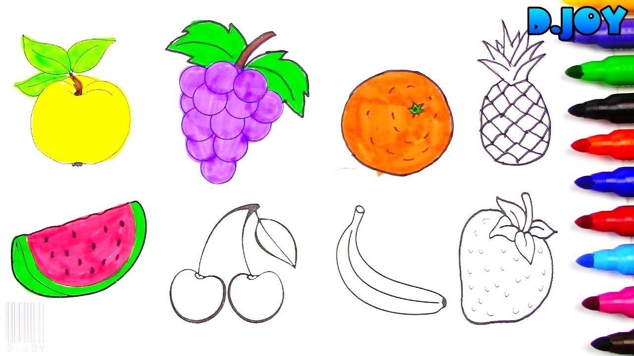 Dibujando Y Coloreando Frutas Para Ninos Dibujos Para Ninos