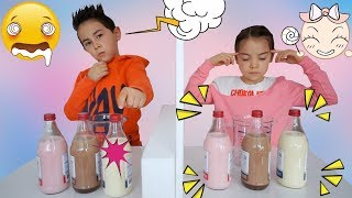 Twin Telepathy Milkshake Challenge! Bruder vs. Schwester |  Level 2  | Johann Loop