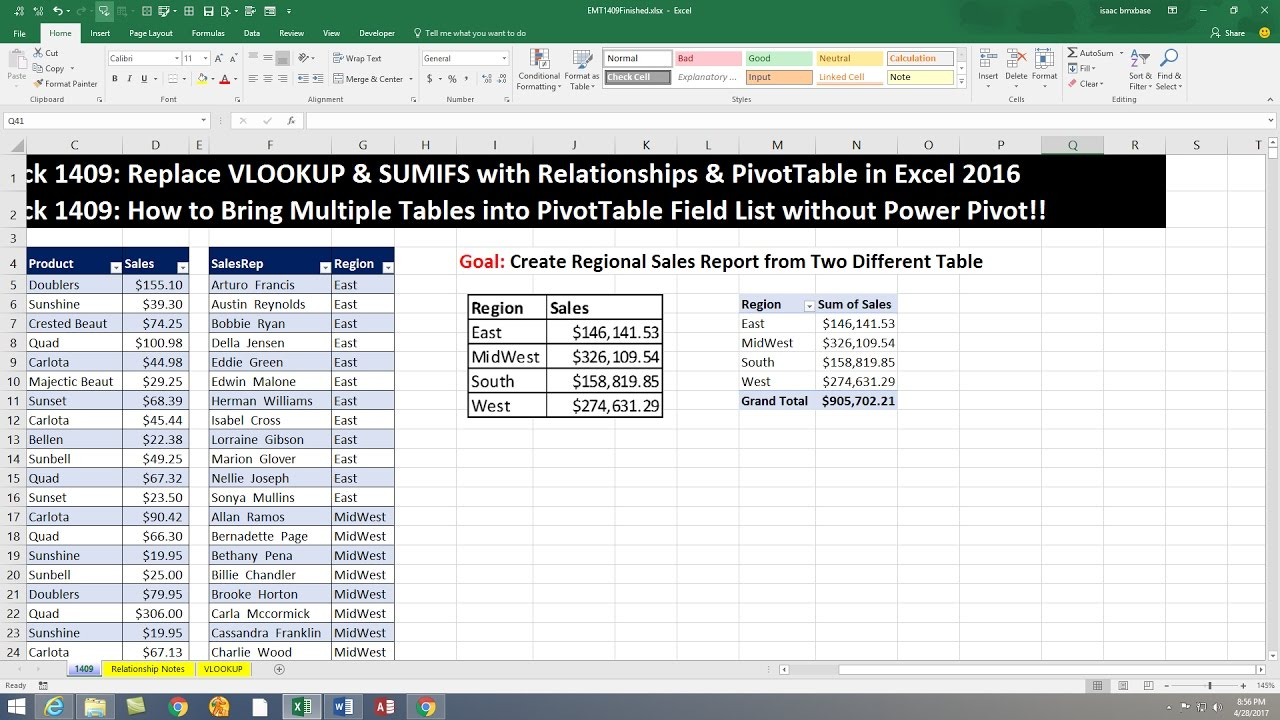 Excel Magic Trick 1409: Build PivotTable From 2 Tables without Power Pivot  or VLOOKUP