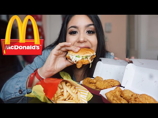 MCDONALDS 20 PC CHICKEN NUGGETS+McCHICKEN+LARGE FRIES MUKBANG! SRIRACHA MAC SAUCE / EATING SHOW