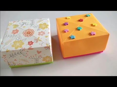 How to make an Origami Gift Box with One Sheet of Paper   Easy Origami   Full Tutorial  