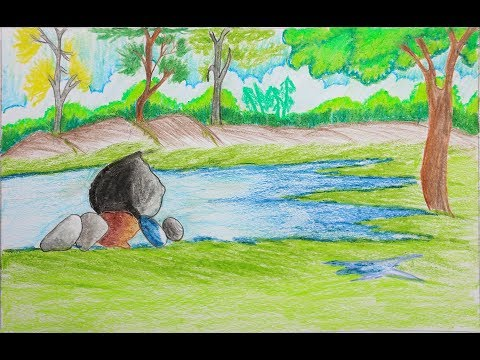 How to draw a landscape step by step | Very easy drawing for kids