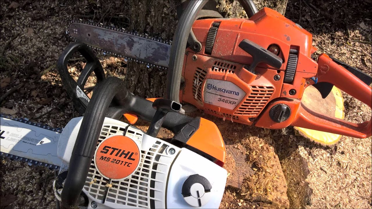 Husqvarna 346 xp and stihl ms 201 tc m youtube for Comparatif debroussailleuse stihl husqvarna