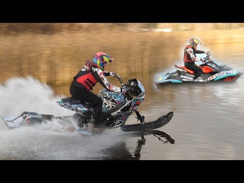 GSX-R Snowbike VS SeaDoo Spark (world record?)