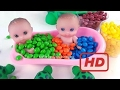 Learn Colors Video Baby Dolls Pooping Eating Bath Time Chocolate M&ms Skittles Candy Pretend Play