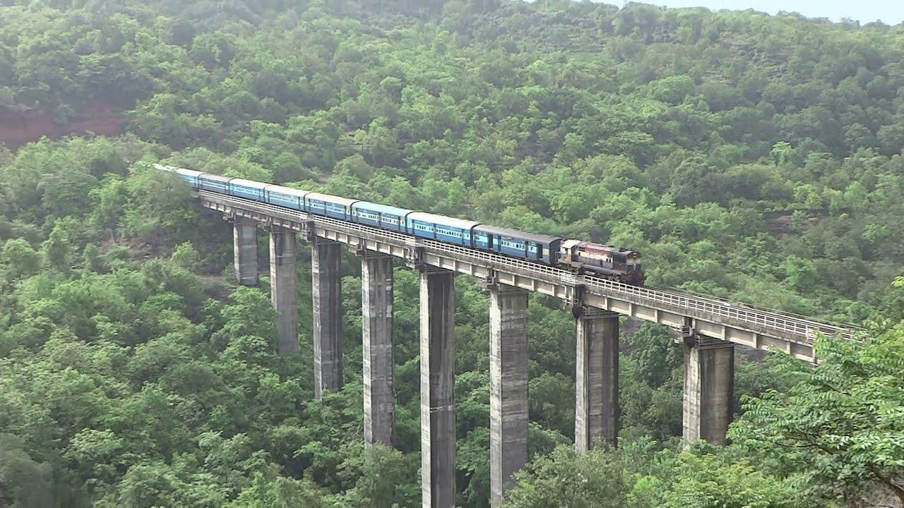 Beautiful Konkan Railway : High Hill View : Train On Pomendi Viaduct  Ratnagiri - YouTube