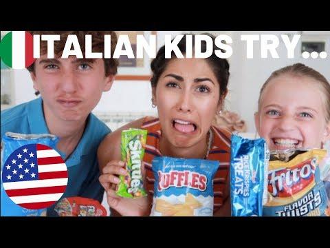 Italian kids try American snacks! (Bambini italiani assaggiano caramelle americane) Part 2