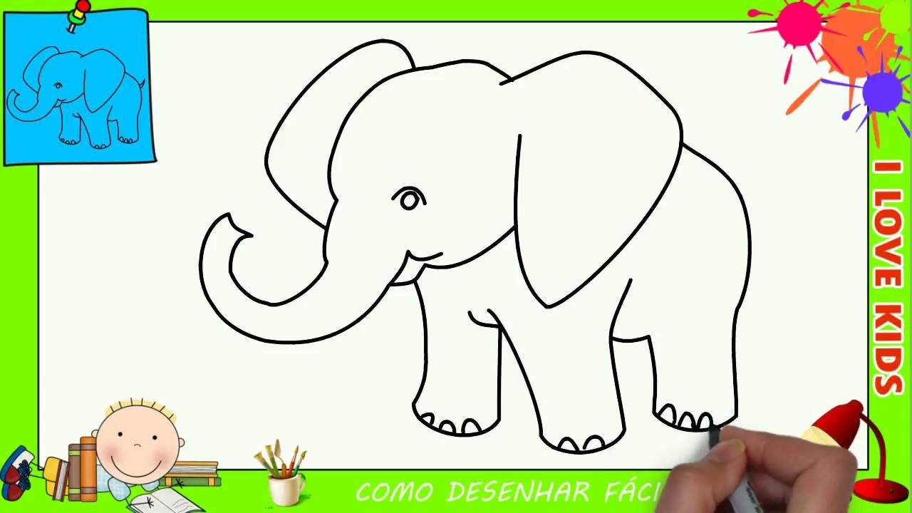 como desenhar um elefante facil passo a passo para crianças e
