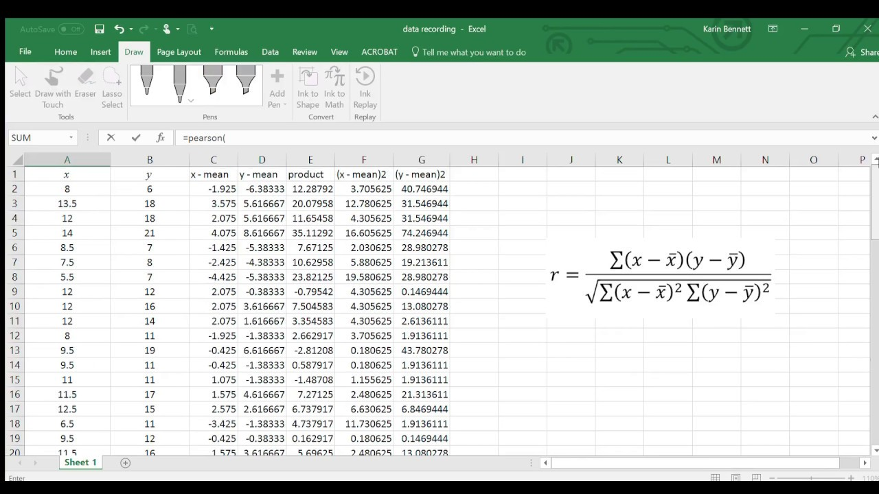 Using Excel to calculate correlation coefficient using the formula