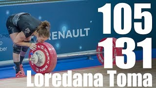 Loredana Toma (63kg Romania) 105kg Snatch 131kg Clean and Jerk - 2018 European Champion