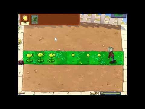 Gameplay-Plants Vs Zombies Level 1-1