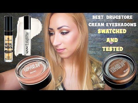 Best Drugstore Cream Eyeshadow Comparison Maybelline Color Tatto, Essence Metal Shock, Nyx Lingerie