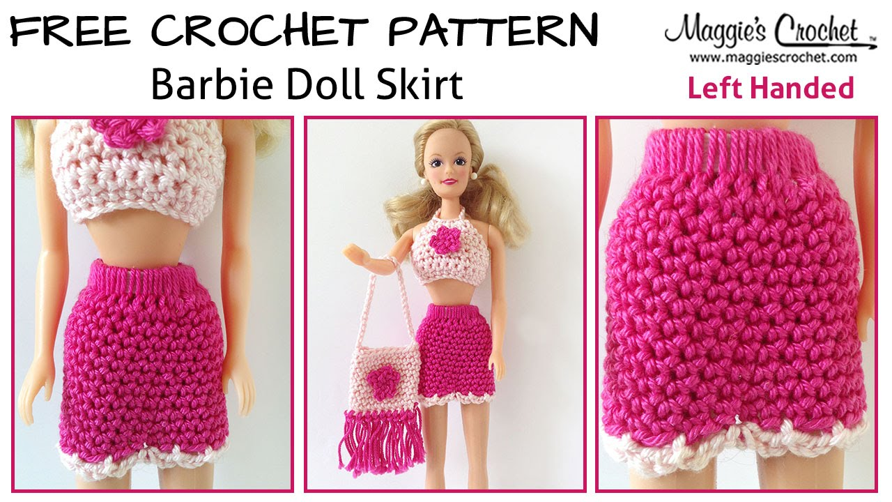 Doll Skirt Free Crochet Pattern - Left Handed - YouTube