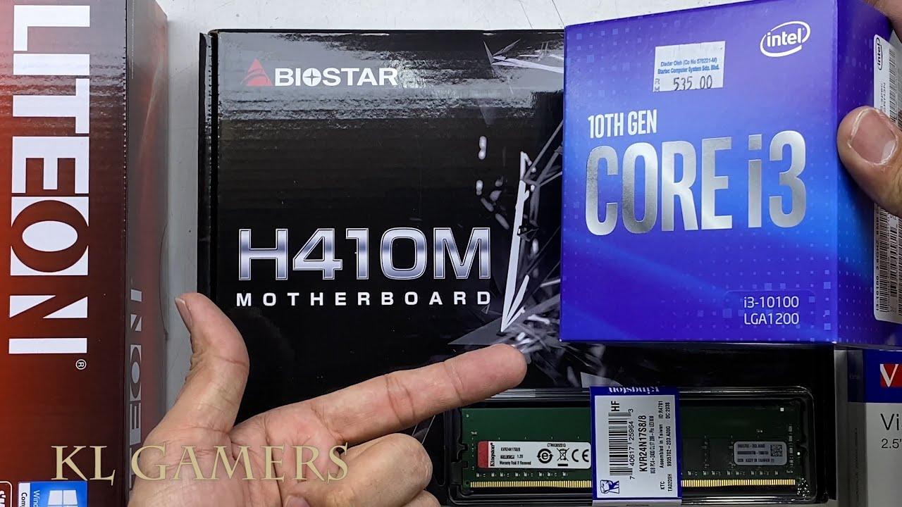 intel Core i3 10100 Biostar H410M Verbatim SSD LITEON DVD-RW Office PC Build - YouTube