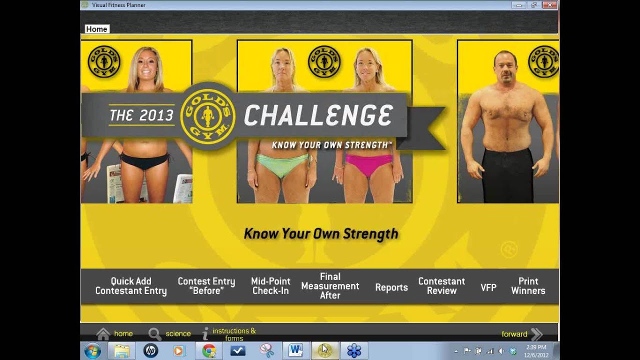 Golds Gym Challenge Visual Fitness Planner Tool ...