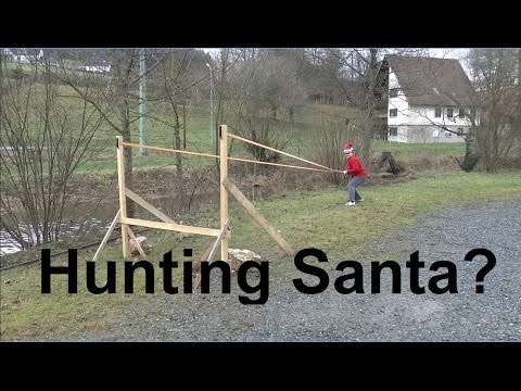 """The Santa Slayer"" - Launching Christmas Trees With The Slingshot"