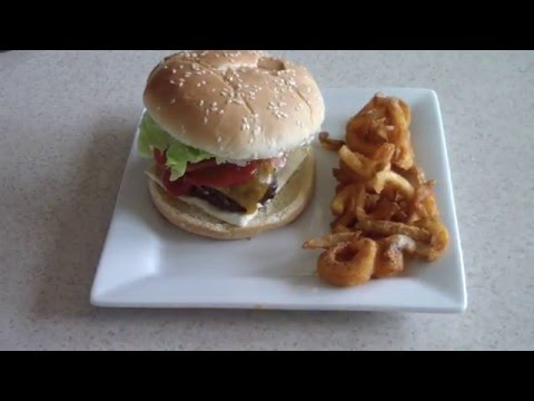Air Fryer Cheeseburgers with Air fried Curly...
