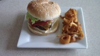 Air Fryer Cheeseburgers with Air fried Curly Fries Cook