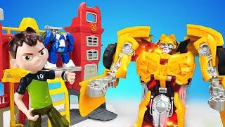 Видео про игрушки из мультфильмов Трансформеры и Бен 10. Оптимус, Бамблби, Бен Тен в автомастерской!