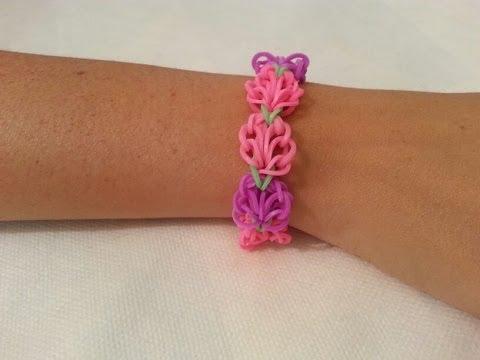 Cmo hacer una pulsera de flores con gomas facilisimocom YouTube