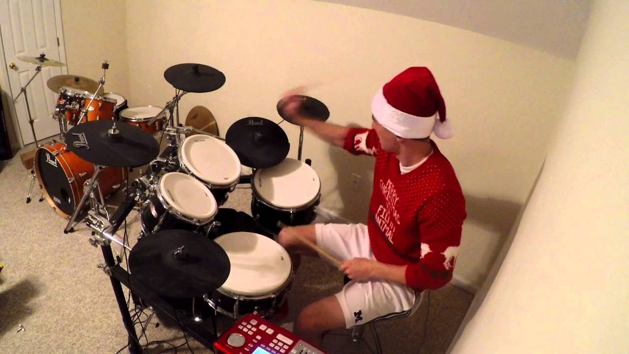 Christmas Drummer.Brutal Christmas Drumming 2015 Rockin Around The Christmas Tree