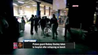 ESPN Reporter screws up, swears (Rodney Stuckey Collapses)